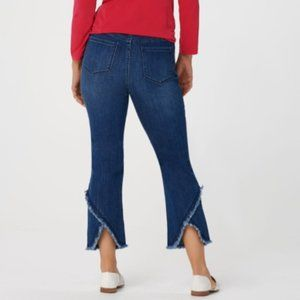 Susan Graver Tulip Frayed Cropped Jeans 24W